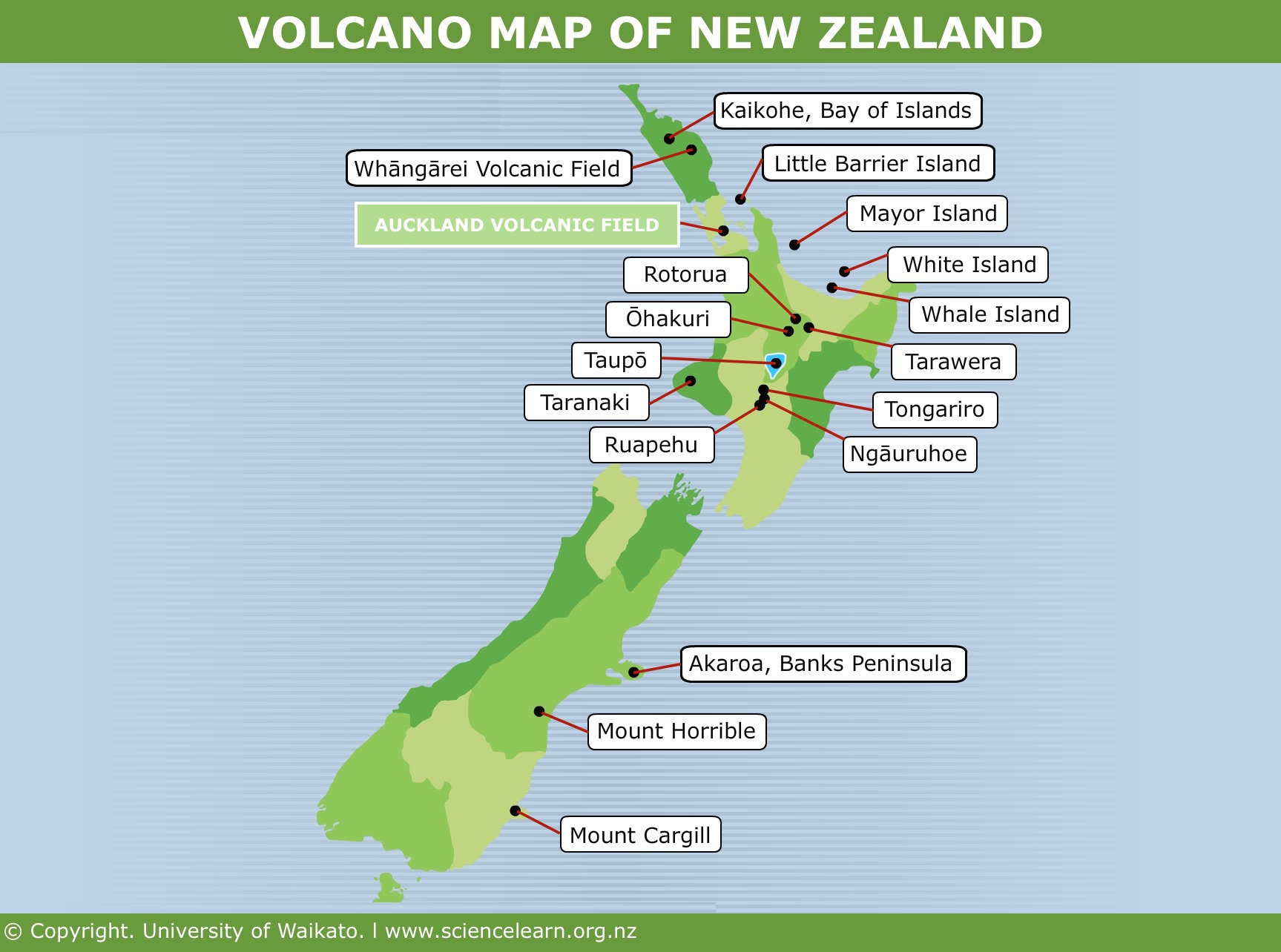 Map Of New Zealand Auckland.Volcano Map Of New Zealand Science Learning Hub