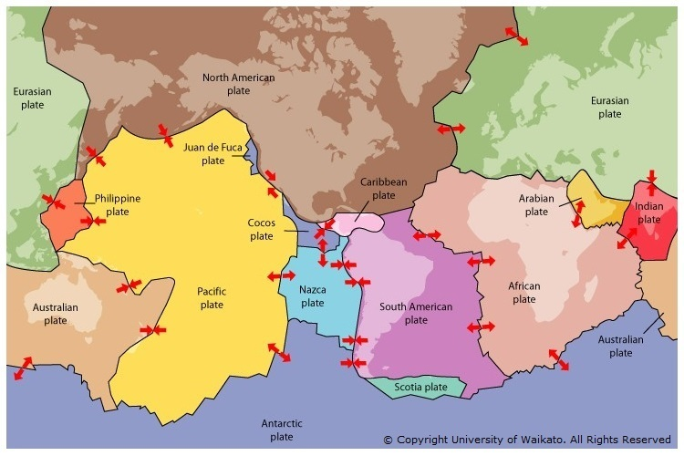 Plate Tectonics Science Learning Hub - Plate tectonics map