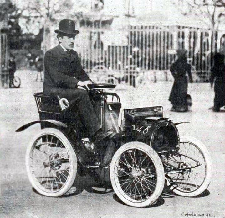Louis Renault driving an Electrobat l, his first electric car ...
